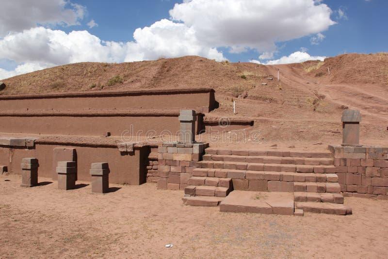 Oude ruines van Tiwanaku stock afbeeldingen