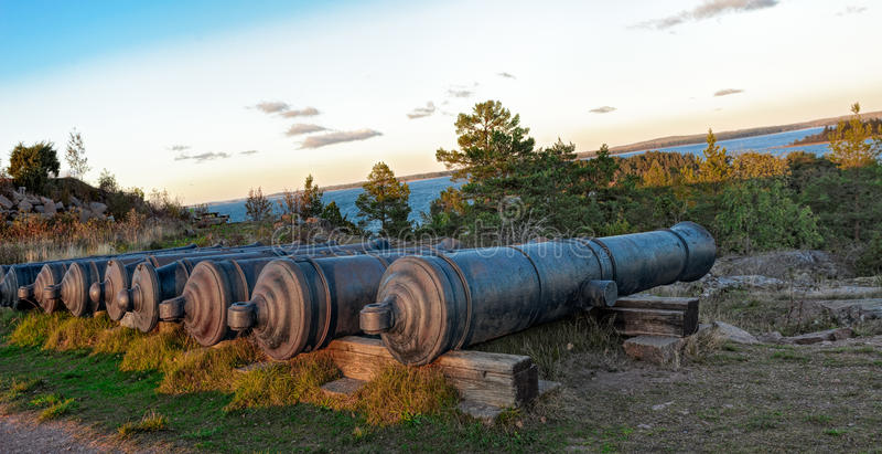 Oude Russische kanonnen royalty-vrije stock afbeelding