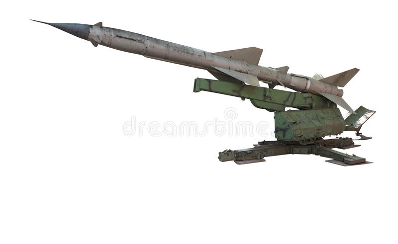 Oude Russische luchtafweer de lanceerinrichtingsraketten van de defensieraket isolat stock afbeelding