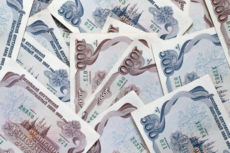 Oude Russische staatsobligaties in 1992 stock afbeeldingen