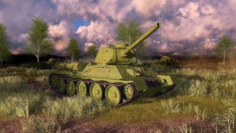 Oude Russische tank T 34 op WO.II-slagveld royalty-vrije illustratie