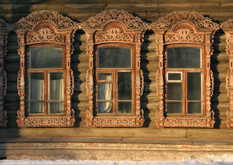 Oude Russische vensters stock fotografie