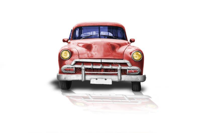 Oude 50 ` s auto met rode verf op witte achtergrond stock foto