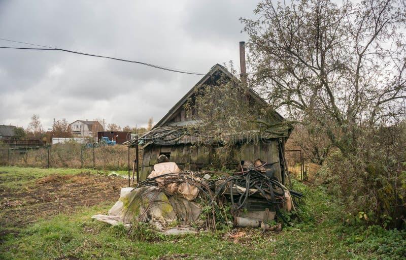 Oude sauna in Russisch dorp royalty-vrije stock fotografie