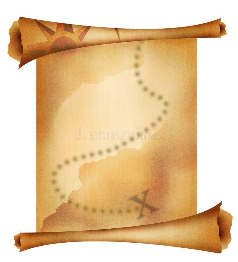 Oude schatkaart stock illustratie