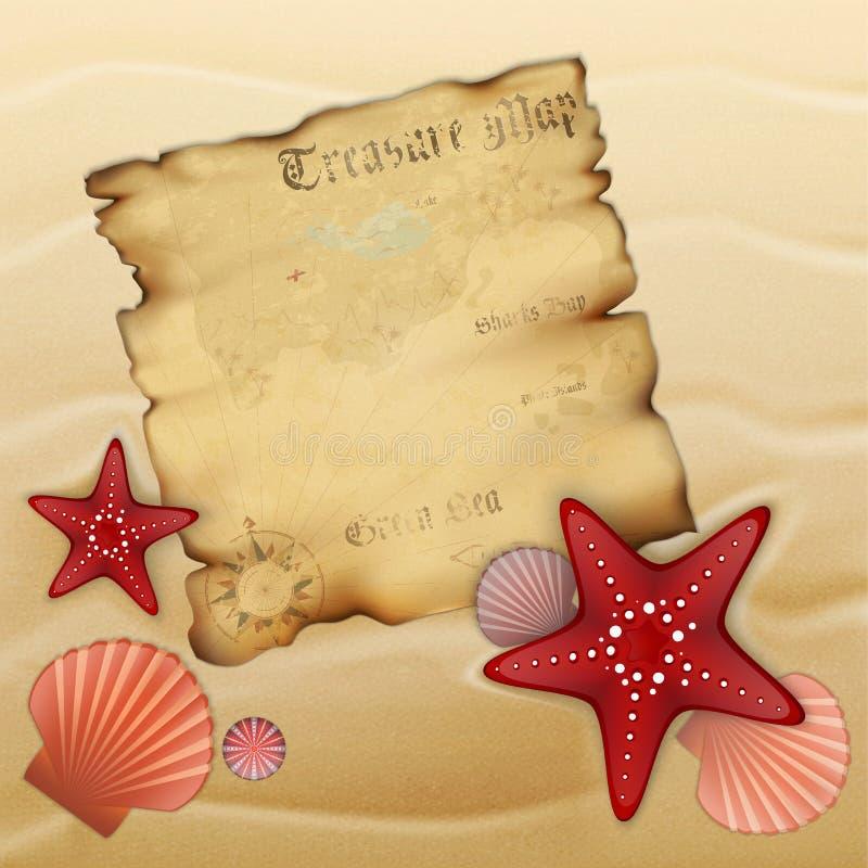 Oude schatkaart op zand royalty-vrije illustratie
