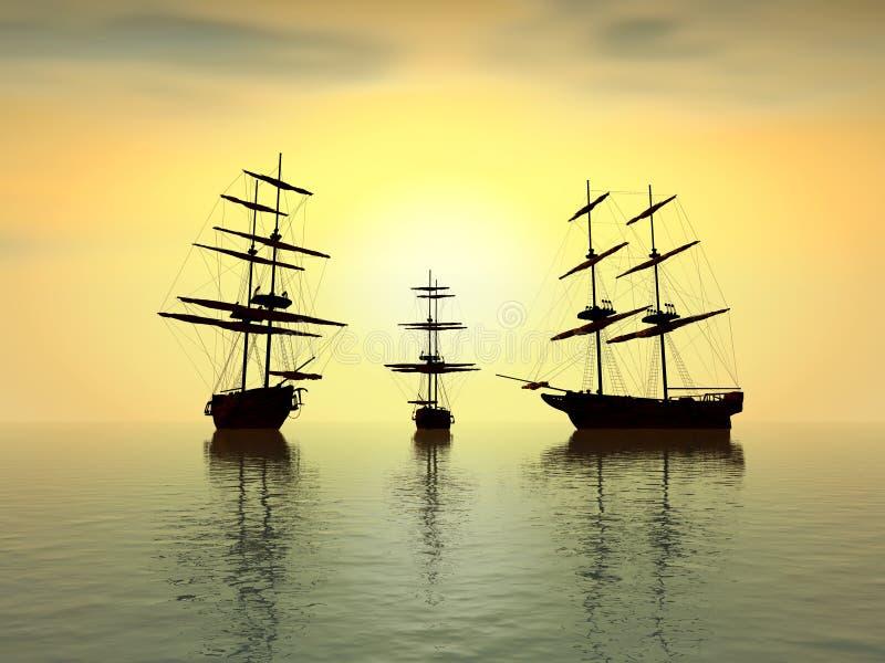 Oude schepen bij zonsondergang stock foto