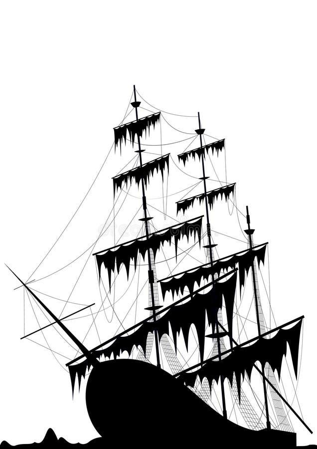 oude schip op zee grond royalty-vrije illustratie