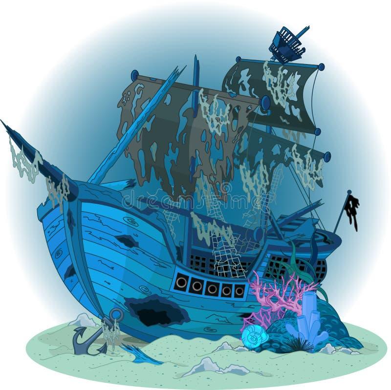 Oude schipachtergrond vector illustratie