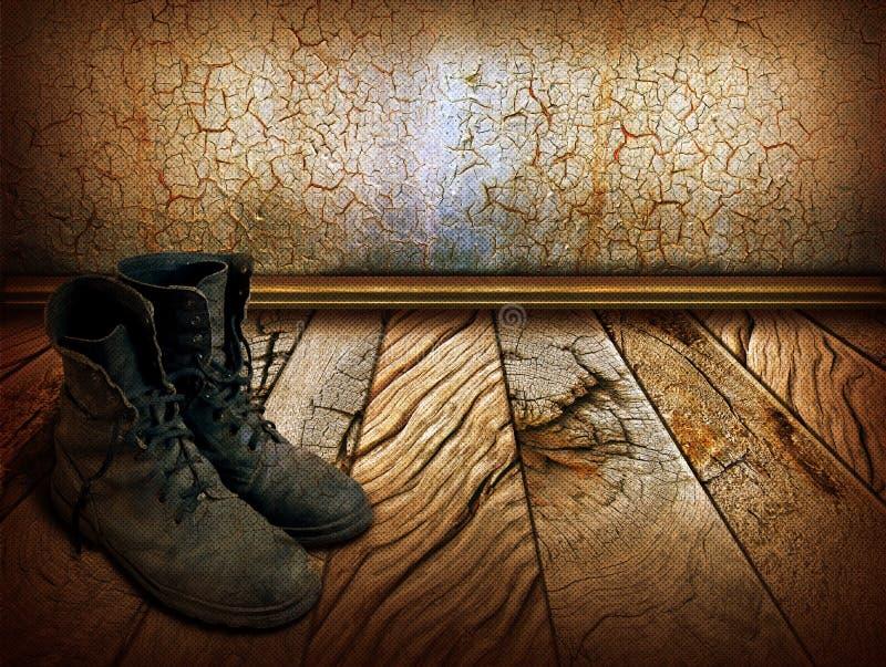Oude schoenen op houten achtergrond stock fotografie