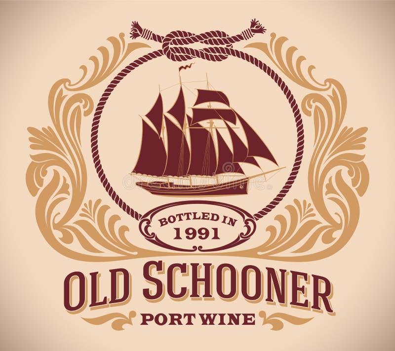 Oude Schoener - het etiket van de havenwijn royalty-vrije illustratie