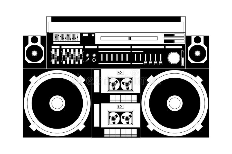 Oude school boombox stock illustratie