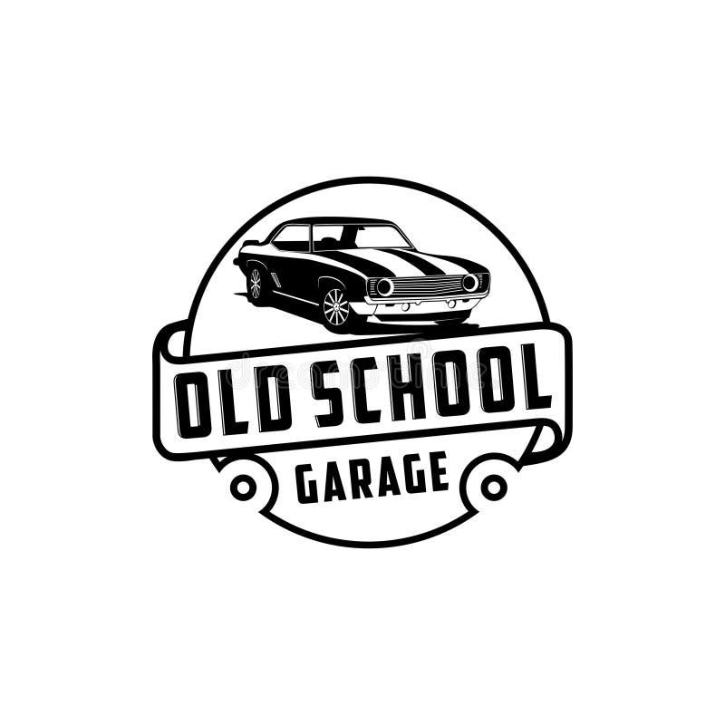 Oude schoolgarage en klassieke het embleemvector van de autodienst vector illustratie