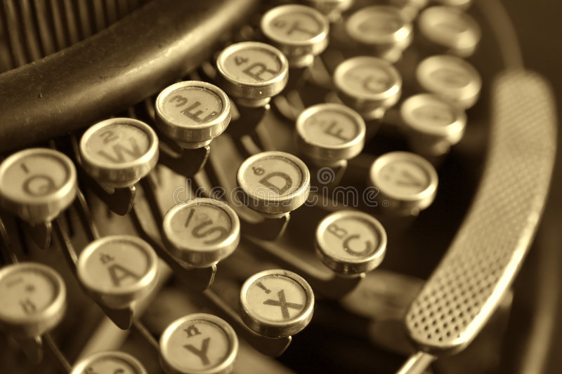 Oude schrijfmachine, close-up stock foto's