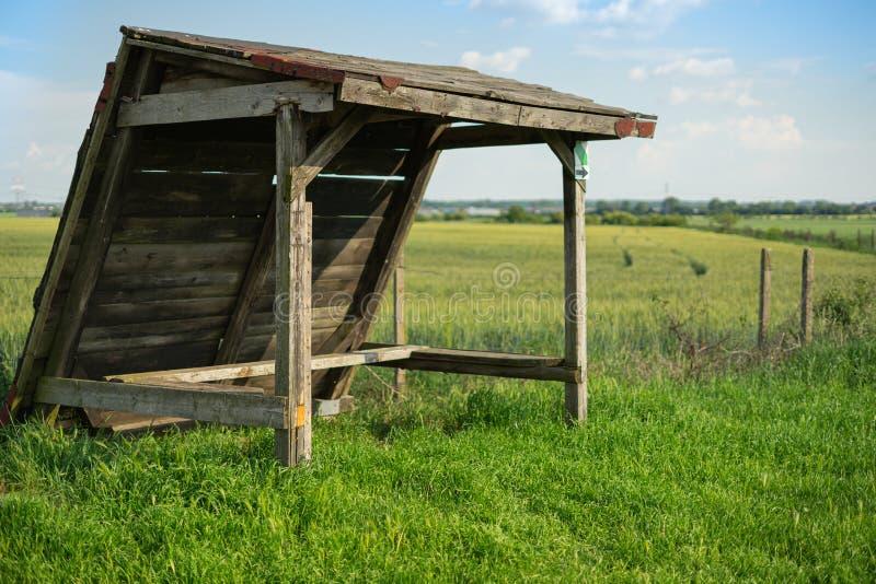 Oude schuilplaats op groen tarwegebied stock foto's