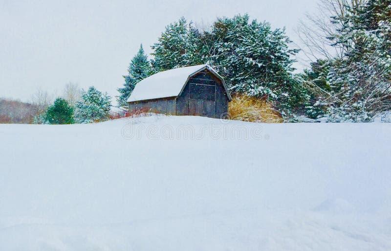 Oude schuur met bomen en struiken in sneeuw royalty-vrije stock afbeeldingen