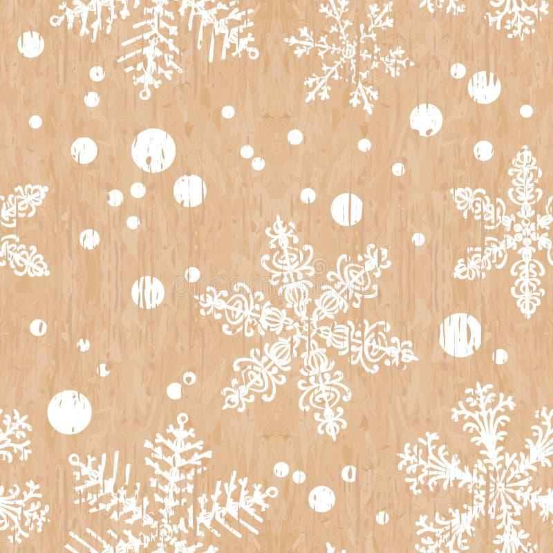 Oude sjofele achtergrond met sneeuwvlokken De naadloze textuur van Kerstmis De eindeloze textuur voor behang, vult, webpaginaacht royalty-vrije illustratie