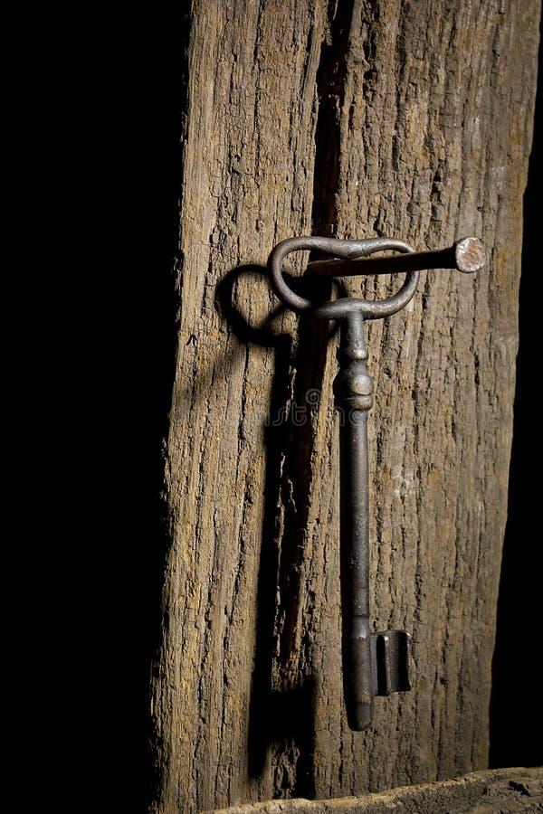 Oude sleutel op een logboek royalty-vrije stock fotografie