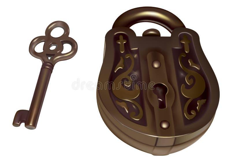 Oude slot en sleutel stock illustratie