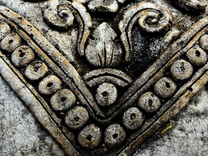 Oude Snijdende het Patroon Geweven Achtergrond van de V-vorm Aziatische Steen stock afbeeldingen