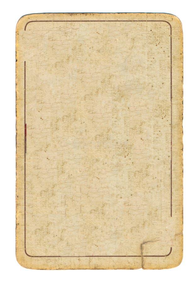 Oude speelkaart gebruikte document achtergrond met één lijn royalty-vrije stock afbeelding