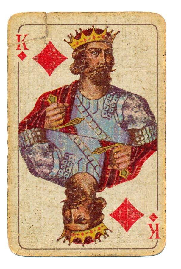 Oude speelkaartachtergrond - koning van diamanten stock afbeelding