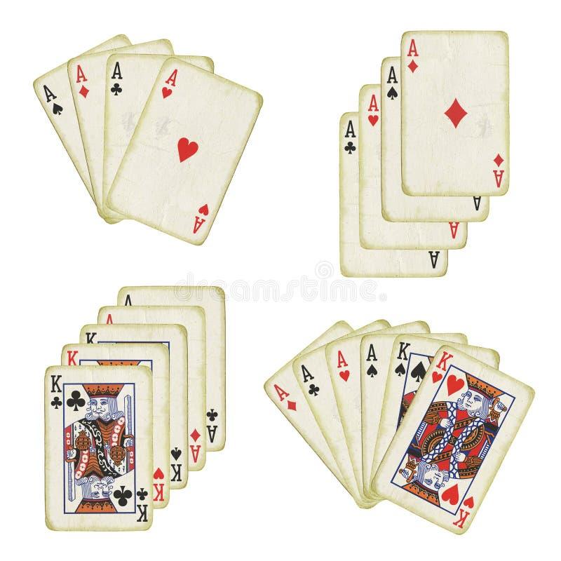 Oude speelkaarten stock afbeeldingen