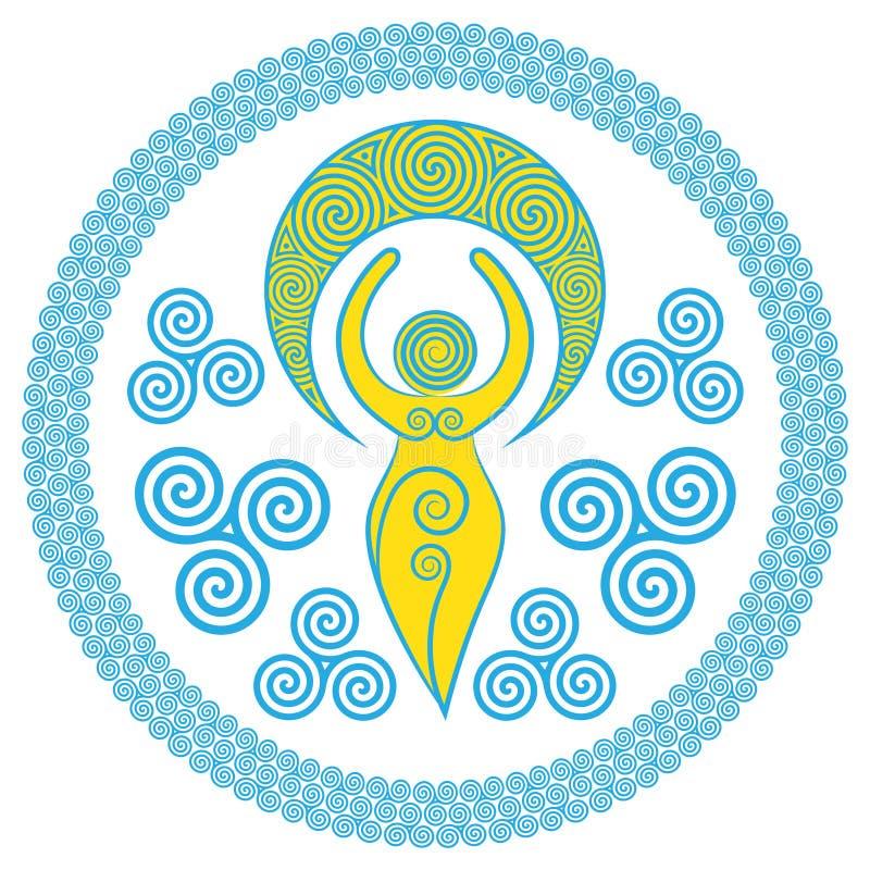 Oude Spiraalvormige Godin: Deze gevoelige Godin vertegenwoordigt de creatieve bevoegdheden van de Goddelijke Vrouwelijke, en eeuw stock illustratie