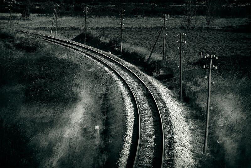 Oude spoorweg, artistieke retro stijl gestemde foto stock fotografie