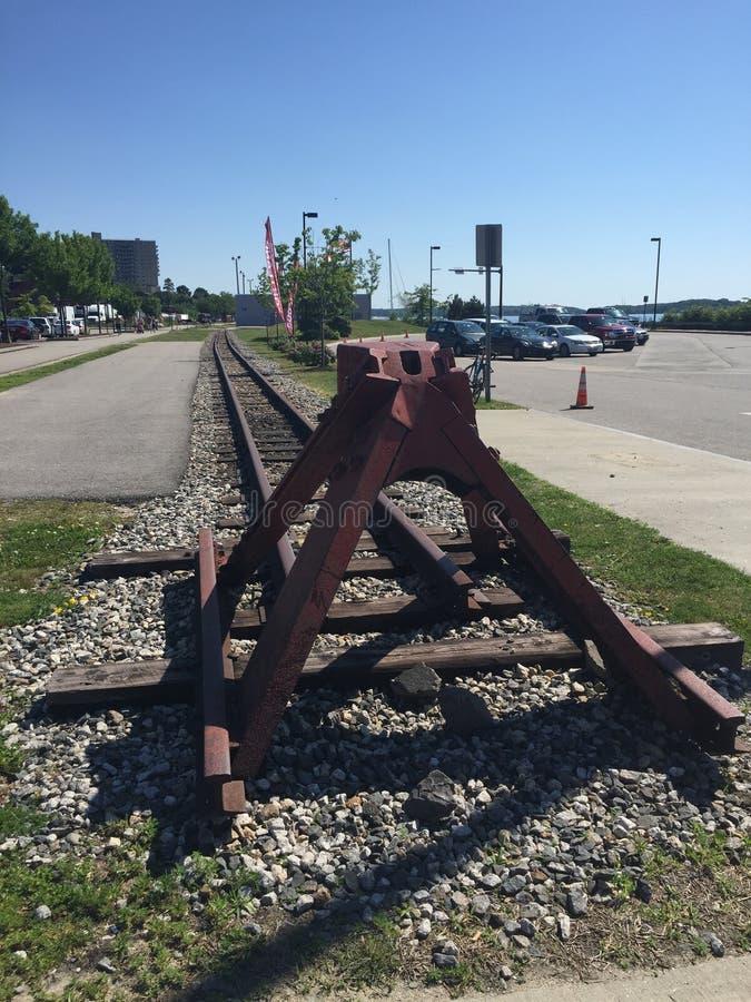 Oude spoorweg in Portland, Maine stock foto's