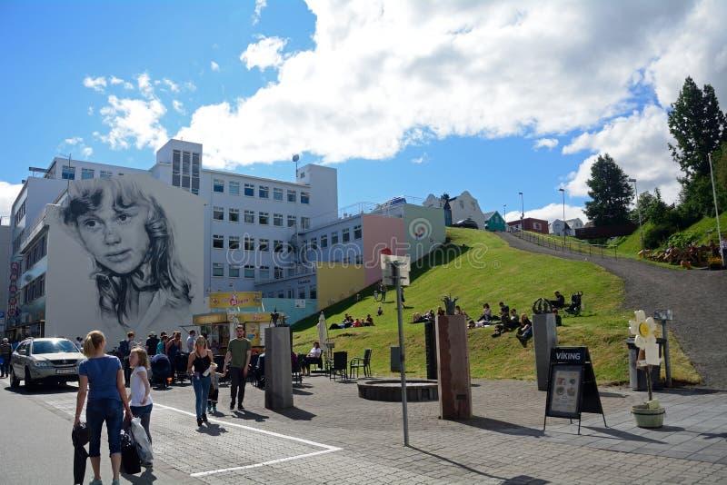 Oude stad, Akureyri, IJsland stock fotografie