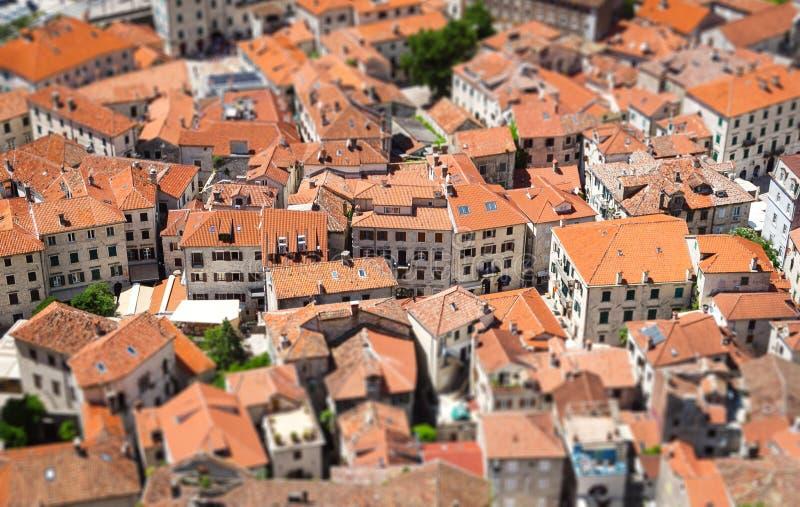 Oude stad in Kotor met schuine stand-verschuiving effect montenegro royalty-vrije stock foto's