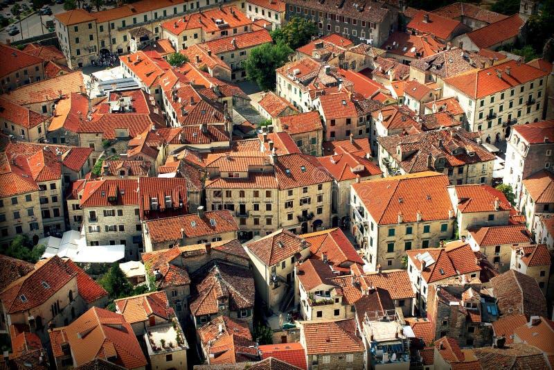 Oude Stad Kotor, montenegro - huizen met rode daken stock foto