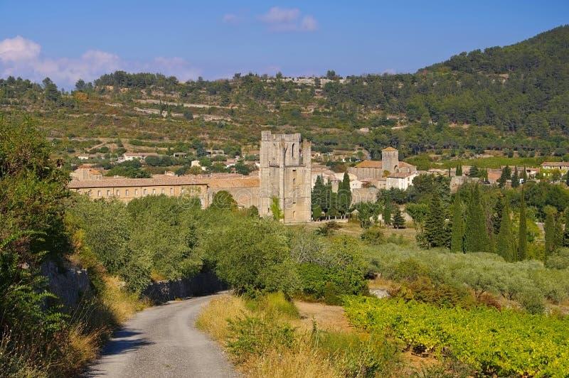 Oude stad Lagrasse in Frankrijk stock foto's