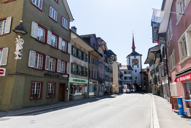 Oude stad Mellingen in Zwitserland royalty-vrije stock foto's