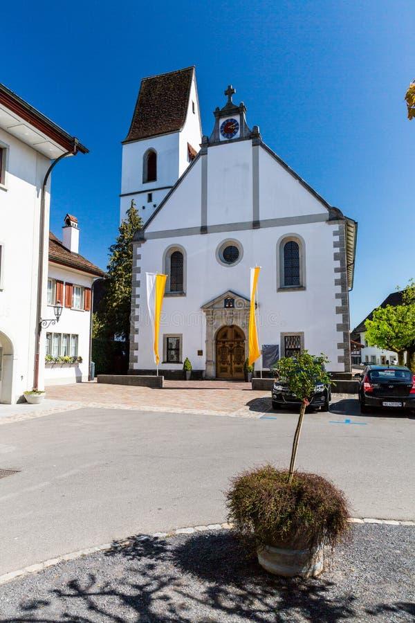Oude stad Mellingen in Zwitserland stock foto