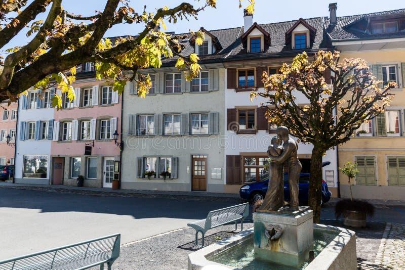 Oude stad Mellingen in Zwitserland stock foto's