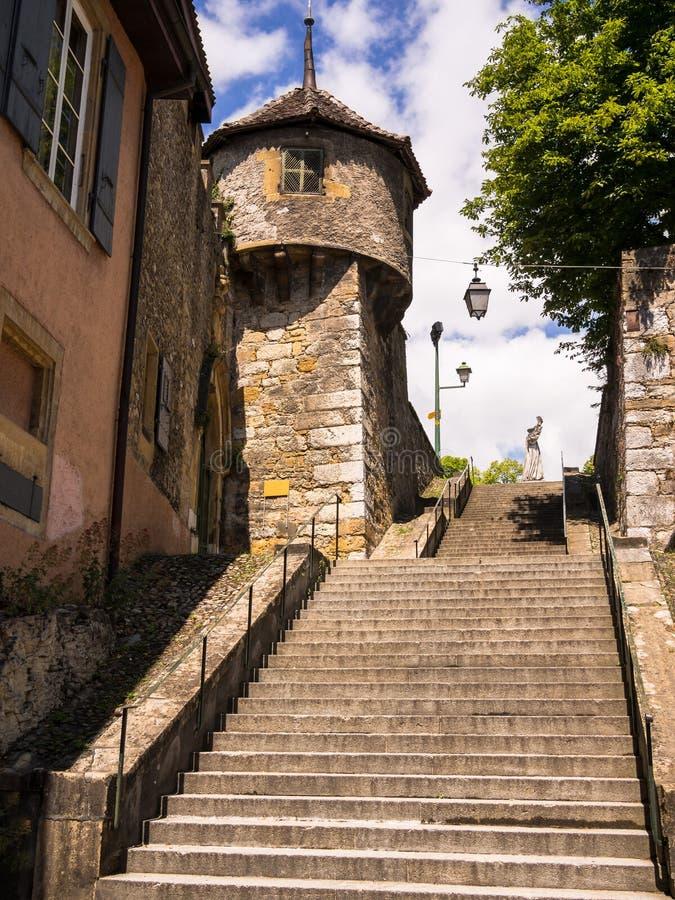 Oude Stad Neuchâtel, Zwitserland stock afbeelding