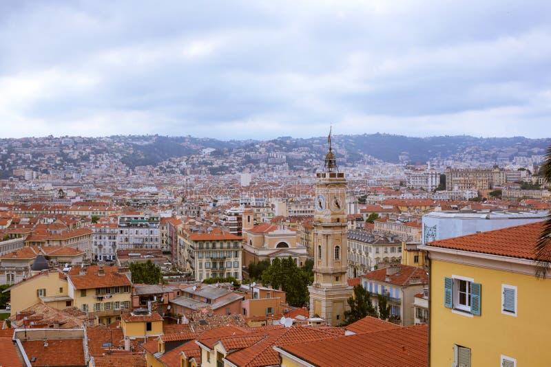 Oude stad Nice in Frankrijk Mening van hierboven stock fotografie