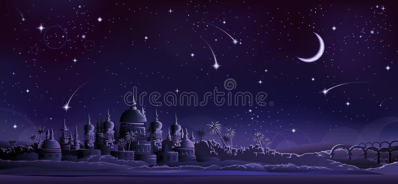 Oude stad onder toenemende maan royalty-vrije illustratie