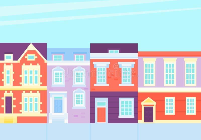 Oude Stad Straat met uitstekende huizen stock illustratie