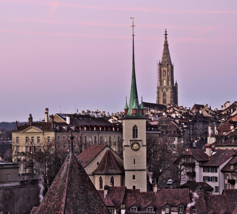 Oude stad van Bern bij zonsopgang royalty-vrije stock afbeeldingen