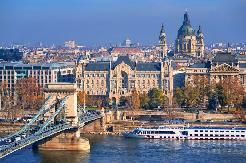 Oude stad van Boedapest op de rivier van Donau, Hongarije royalty-vrije stock fotografie