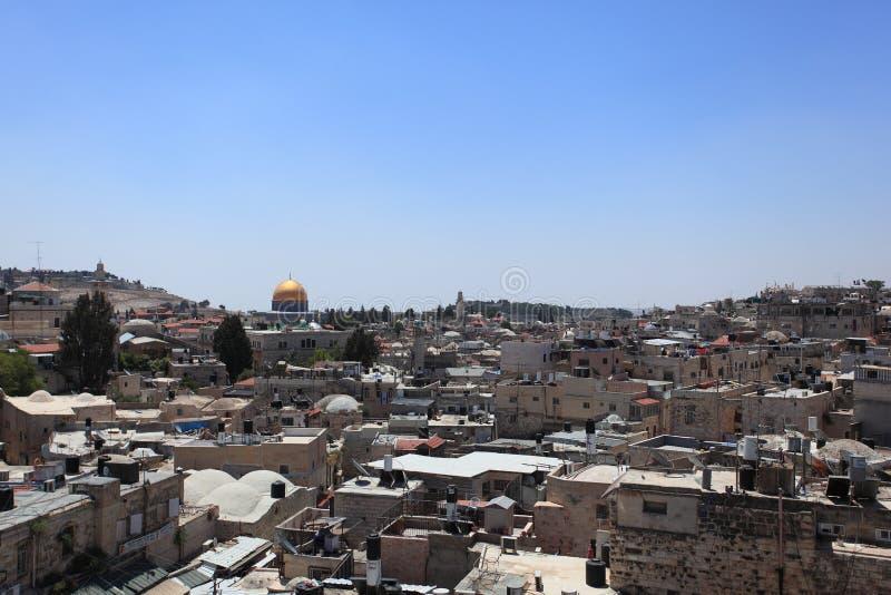 Oude Stad van Jeruzalem met Koepel van de Rots stock foto