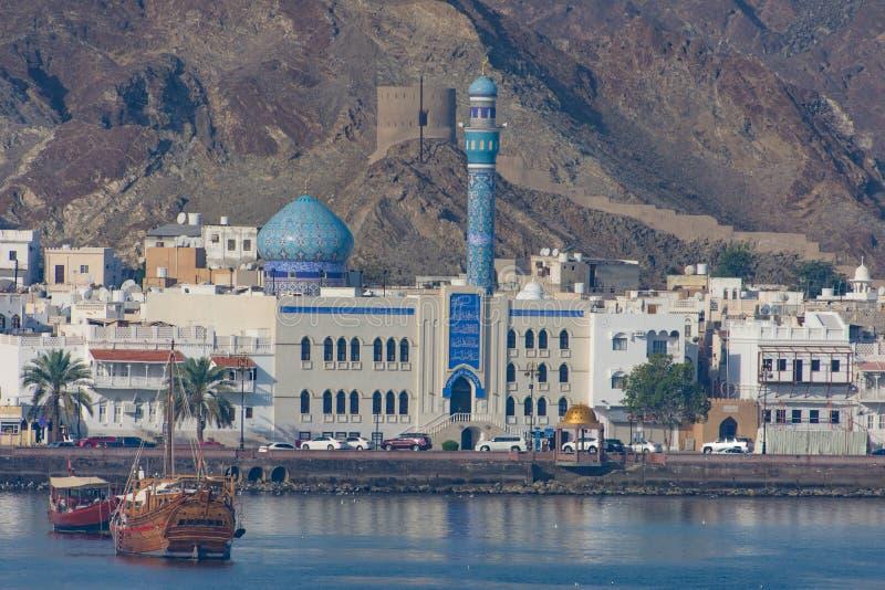 Oude stad van Mutrah, Muscateldruif, Oman stock afbeeldingen