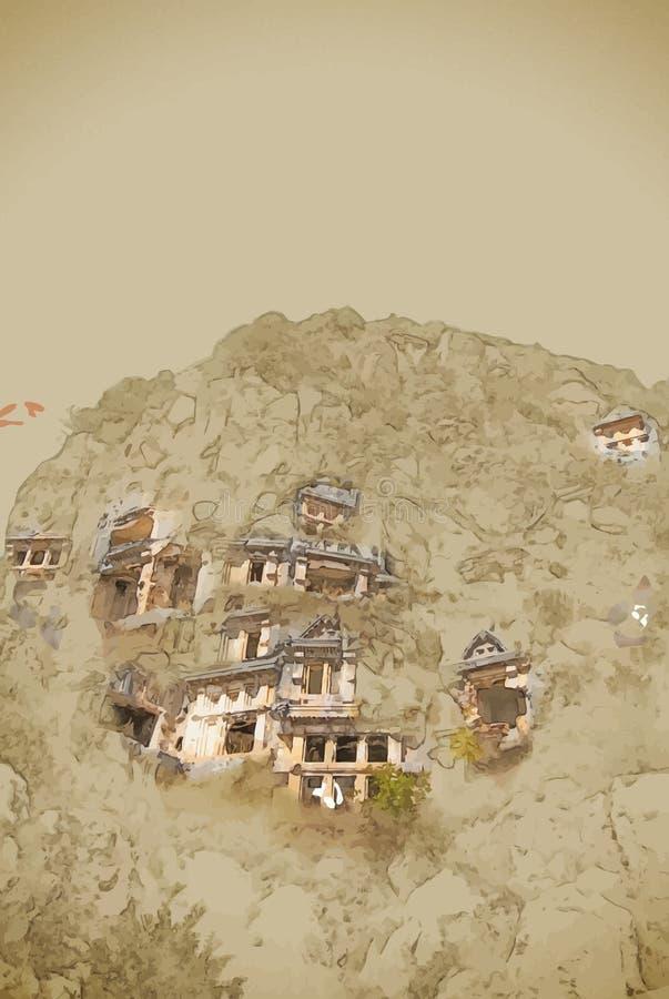 Oude stad van Myra, Antalya, Turkije stock illustratie