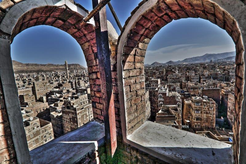 Oude stad van Sana'a in HDR stock afbeelding