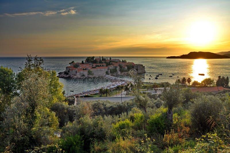 Oude stad van Sveti Stefan stock foto's