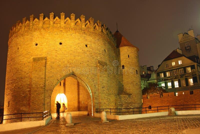 Oude stad in Warshau (Polen) bij nacht royalty-vrije stock fotografie
