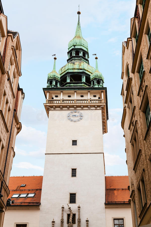 Oude Stadhuis (Stara Radnice) toren in Brno stad royalty-vrije stock fotografie